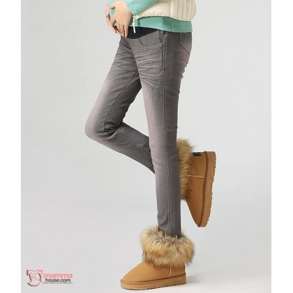 Maternity Jeans - Long Zip Grey