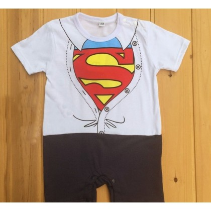 Baby Clothes - Romper White Superman or Yellow Batman