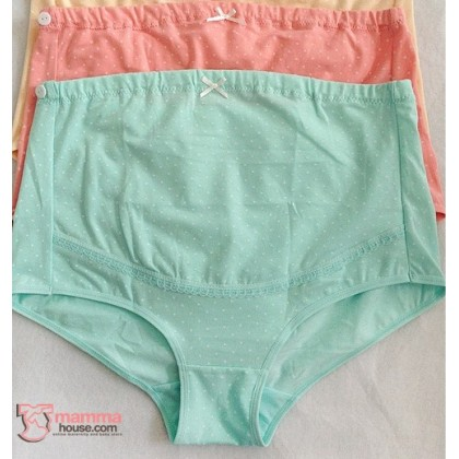 Maternity Panties - Polka Green Blue