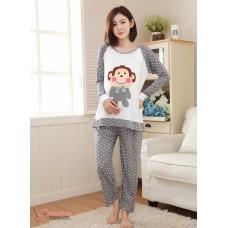 Mamma Pajamas - Long Grey Polka Monkey