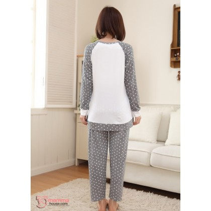 Mamma Pajamas - Long Grey Polka Monkey