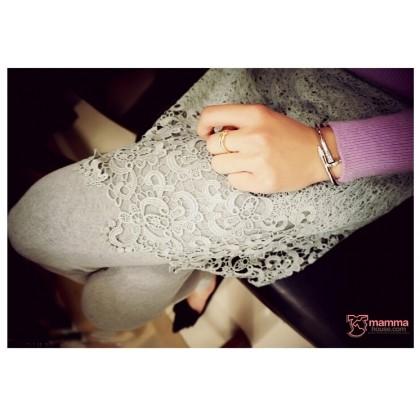 Capri Legging - Long Lace Dress Grey