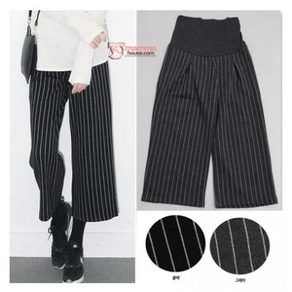 Maternity Working Pants - Trumpet Stripe Black