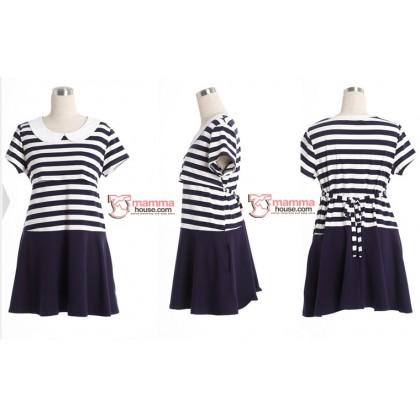 Nursing Set - Navy Stripe (plus baby romper)