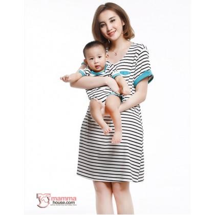 Nursing Set - Short Stripe Sleeves Blue (plus baby romper)