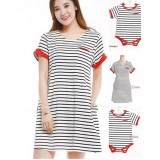 Nursing Set - Short Stripe Sleeves Red (plus baby romper)