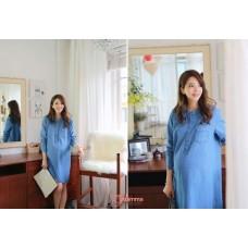 Maternity Dress - Long Denim Button