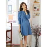 Maternity Dress - Long Denim Button