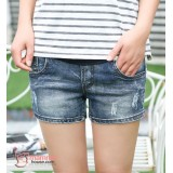 Maternity Jeans Shorts - Dark Blue Mini