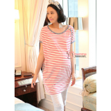 Maternity Tops - Korean Stripe White Red