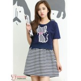 Maternity Dress - 2pcs Stripe Knitted Sleeves Short
