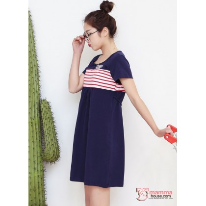 Nursing Dress - Angel Stripe Red