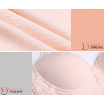 X Nursing Bra - Mid Button Grey White