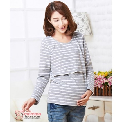 Nursing Tops - Just Stripe Grey