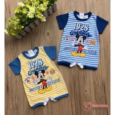 Baby Clothes - Romper Stripe Mickey (Blue or Yellow)