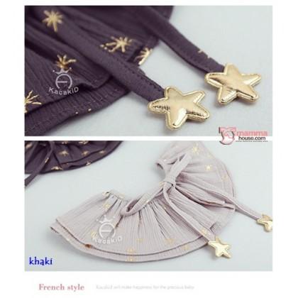 Baby Detachable Collar - Star Dark Khaki Pink