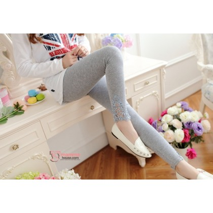 Maternity Long Legging - Opening Lace Light Grey