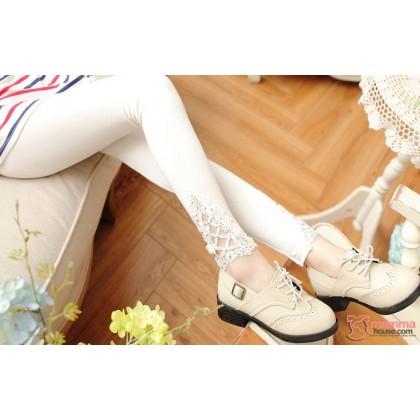 Maternity Long Legging - Opening Lace White