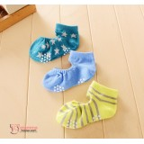 Baby Socks - Korean 2 hole (3 pairs set) - Boy Blue Star