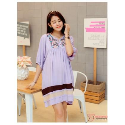 Maternity Dress - Flora Purple