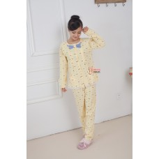 Mamma Pajamas - Long Blue Ribbon Yellow