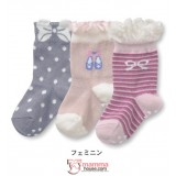 Baby Socks - JP 3pcs set socks girl (pink khaki)
