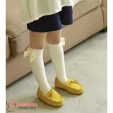 Baby Socks - Korean Ribbon Long White