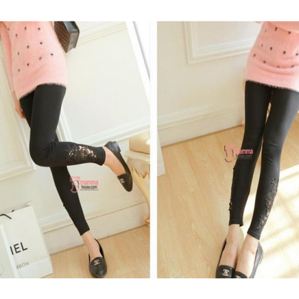 Maternity Legging - Long Opening Lace (Black, Dark Grey or Light Grey)