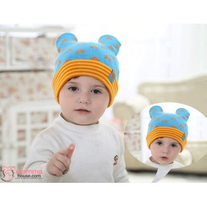 Baby Hat - Knitted Star Blue