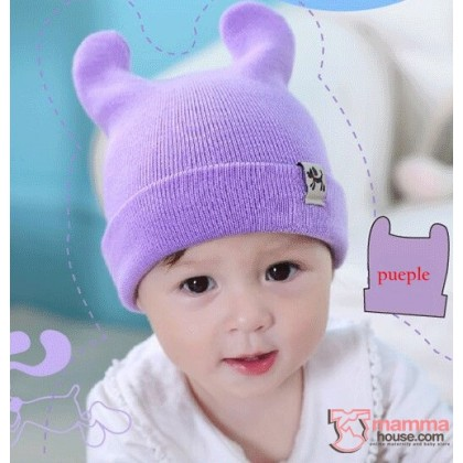 Baby Hat - Knitted Ear Purple