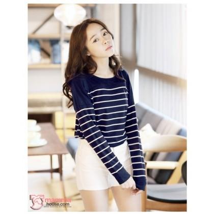 Nursing Tops - Long Sleeves Stripe Blue White