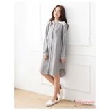 Nursing Dress - Shoulder Lace Stripe Grey