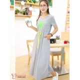 Maternity Dress - Attractive Grey Short Sleeves