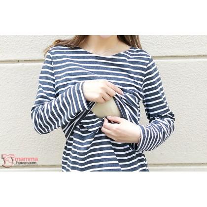Nursing Tops - KR Long Stripe White Navy Blue LONG