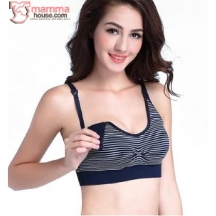 T Nursing Bra - Quality Stripe Dark Blue