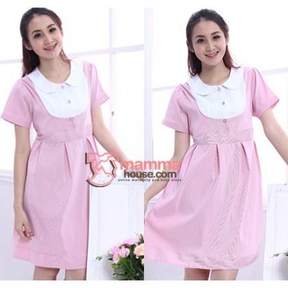 Nursing Dress - Working Stripe (Pink or Grey)