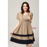 Maternity Dress - Bottom Stripe (Almond or Pink)