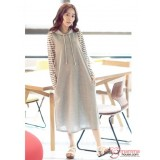 Nursing Dress - Long 2pcs Star Stripe Grey