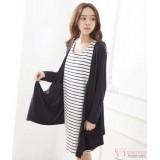 Nursing Dress - Long Forge 2pcs Stripe Dark Blue