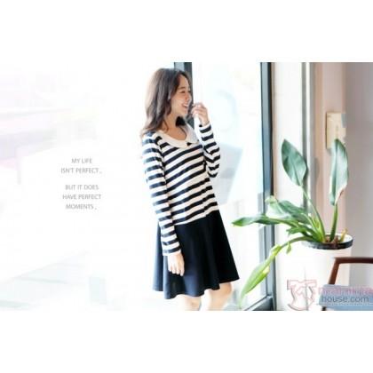Nursing Dress - Long Navy Blue Stripe