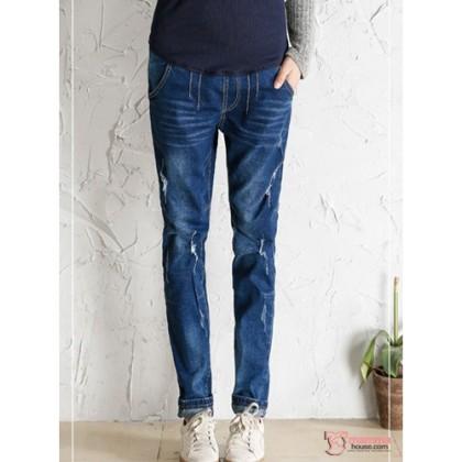 Maternity Jeans - Pocket Line Dark Blue