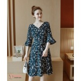 Maternity Dress - Chiffon Dark Blue Flora
