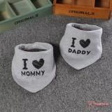 Baby Bib - 2pcs set - Love Daddy Mommy Grey