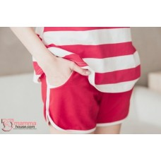 Nursing Set - Star Stripe Dark Red (plus baby romper)