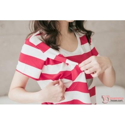 Nursing Set - Star Stripe Dark Red (plus baby romper)