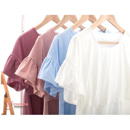 Nursing Tops - Lotus Sleeves White or Blue