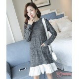 Maternity Dress - Knitted Grey Pocket
