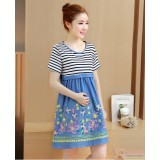 Nursing Dress - Flower Dress Blue Short Sleeves
