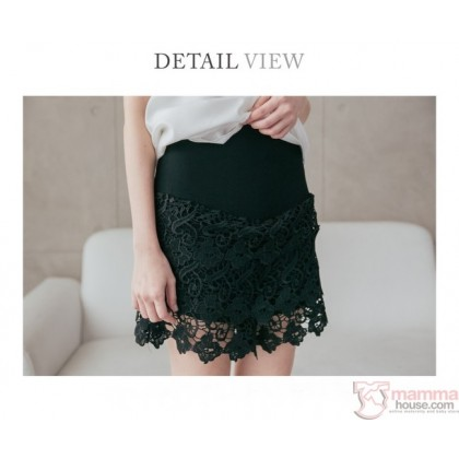 Maternity Shorts - Dress-Link Lace White