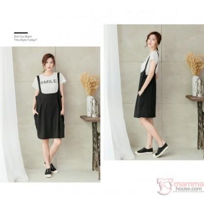 Nursing Dress - 2pcs Smile Stripe Black